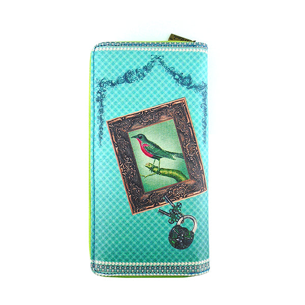 Shop Mlavi's kitsch style bird on typewriter print vegan large wallet made with SGS tested toxic-free Eco-friendly cruelty free vegan materials. Wholesale available at www.mlavi.com for gift shop, fashion accessories & clothing boutique in Canada, USA & worldwide.