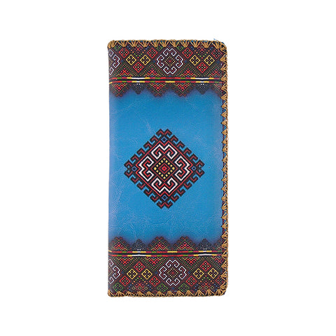 Blue Ukraine print faux leather large flat wallet