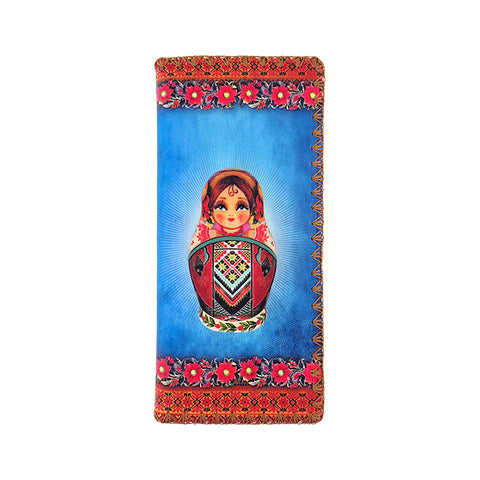 Nesting doll Ukraine print faux leather large flat wallet