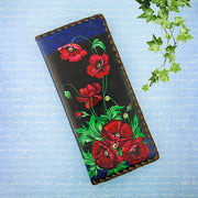Shop Mlavi's vegan leather large flat wallet for women with Ukrainian poppy flower print print. Great for everyday use & a unique gift for yourself & family & friends. More Ukraine themed bags, wallets & other fashion accessories are available for wholesale at www.mlavi.com for gift shop & boutique buyers worldwide.