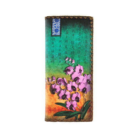 Shop Mlavi Studio's vegan leather large flat wallet for women with orchid flower print. Great for everyday use & a unique gift for yourself, family & friends. More Asian themed wallets, pouches & other fashion accessories are available for wholesale at www.mlavi.com for gift shop & boutique buyers worldwide.