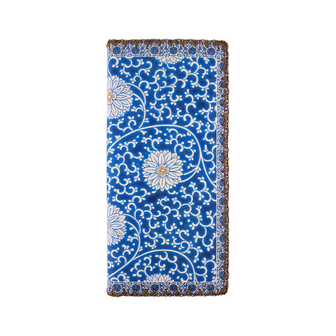 Vintage blue & white lotus porcelain pattern print faux leather large flat wallet
