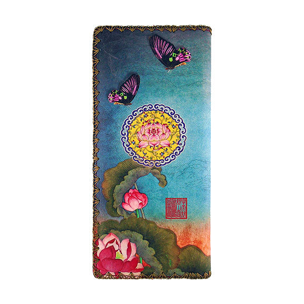 Shop Mlavi Studio's vegan leather large flat wallet for women with lotus flower & dragonfly print. Great for everyday use & a unique gift for yourself, family & friends. More Asian themed wallets, pouches & other fashion accessories are available for wholesale at www.mlavi.com for gift shop & boutique buyers worldwide.