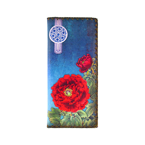 Shop Mlavi Studio's vegan leather large flat wallet for women with peony flower print. Great for everyday use & a unique gift for yourself, family & friends. More Asian themed wallets, pouches & other fashion accessories are available for wholesale at www.mlavi.com for gift shop & boutique buyers worldwide.
