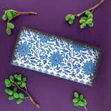 Shop Mlavi Studio's vegan leather large flat wallet for women with blue and white porcelain pattern print. Great for everyday use & a unique gift for yourself, family & friends. More Asian themed wallets, pouches & other fashion accessories are available for wholesale at www.mlavi.com for gift shop & boutique buyers worldwide.