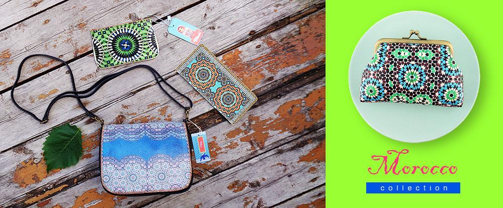 Mlavi Morocco Collection vegan leather bags, wallets, pouches, coin purses and more with beautiful Moroccan pattern prints.,