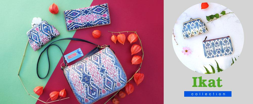 Shop Mlavi Studio's beautiful vegan leather bags, wallets, coin purses from Ikat collection
