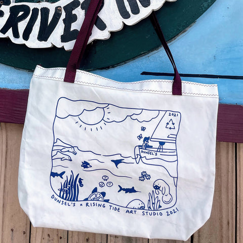 New Dunsel's Tote with artwork on face of bag