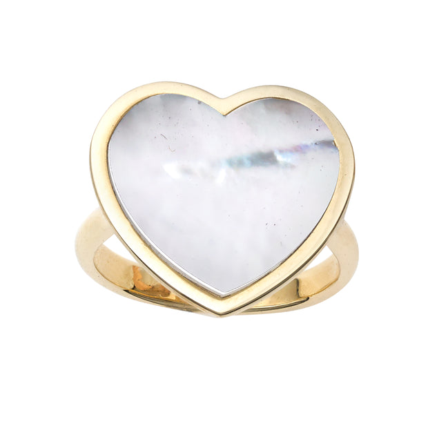 14K Gold Mother of Pearl Heart Ring