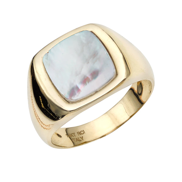 14K Gold Mother of Pearl Signet Ring