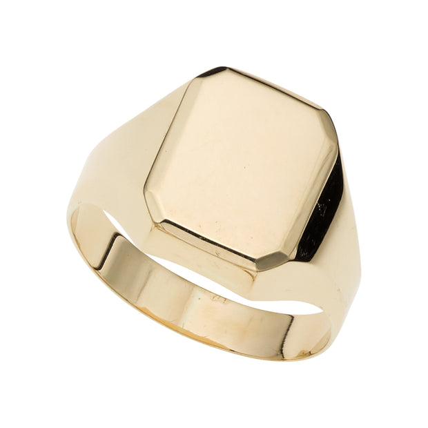 14K Gold Polished Rectangular Signet Ring