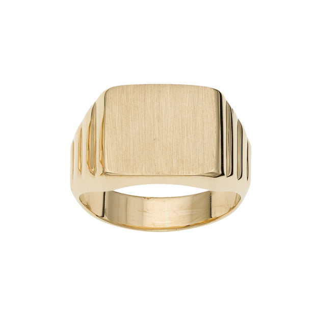 14K Gold Rectangular Satin Signet Ring
