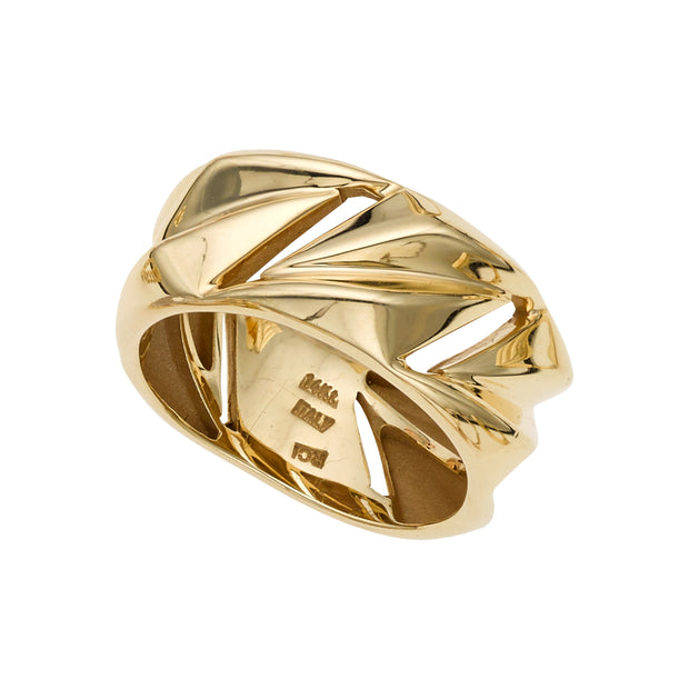 14K Gold Polished Geometric Ring