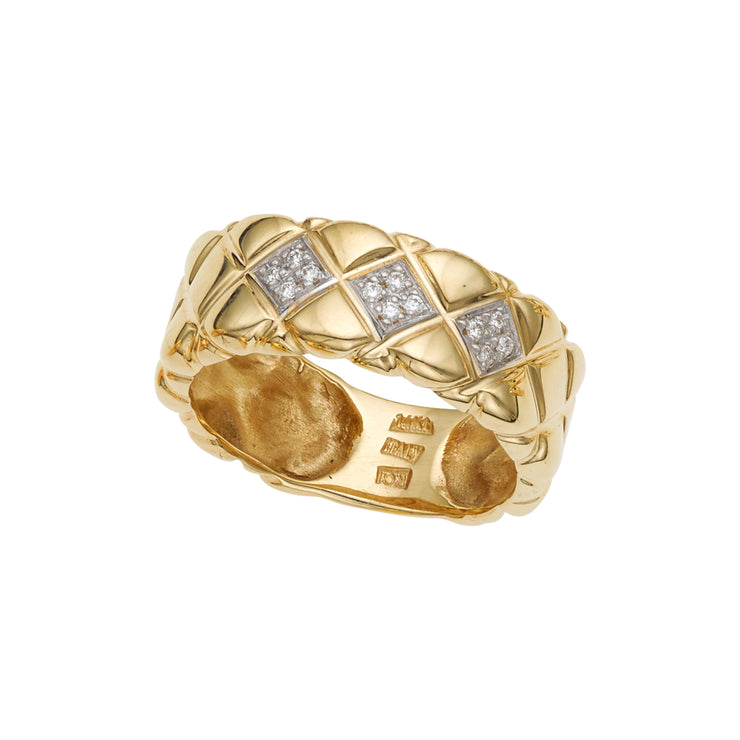 14K Gold Diamond Pyramid Ring