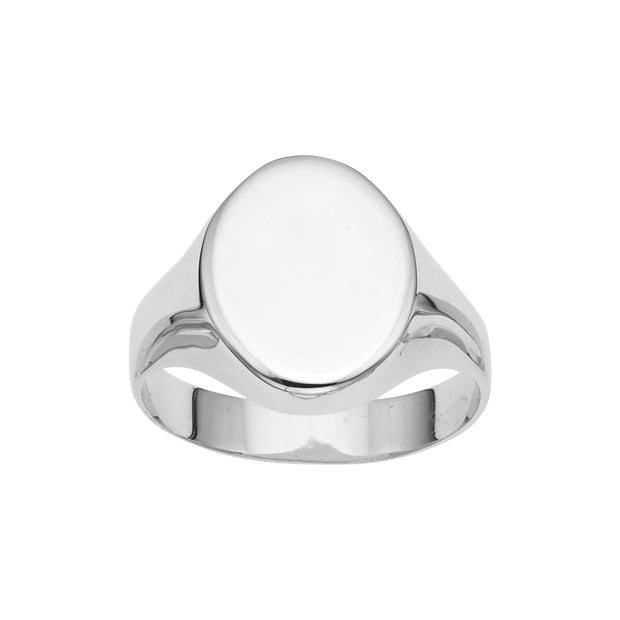 14K Gold Polished Oval Signet Ring
