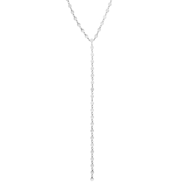 14K Gold Round Mirror Chain Lariat Necklace