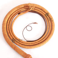 Indiana Jones Style Bull Whip 4, 6, 8 & 10 Feet Long 8 Plaits Real Tan Cowhide Leather Bullwhip