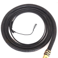 Bull Whip 6, 8, 10, 12, 14 & 16 Feet long 16 Strands Black Kangaroo Hide Leather Equestrian Bullwhip Gold Accents & Ferrule Leather Belly & Bolster Construction