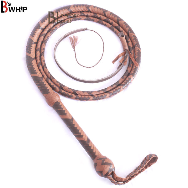 Indiana Jones Style 8 Foot 16 Plait Dark Brown Leather Bullwhip Real Cowhide Leather Bull Whip