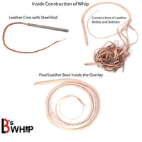 Bull Whip 6, 8, 10, 12, 14 & 16 Feet long 16 Strands Brown Kangaroo Hide Leather Equestrian Bullwhip Gold Accents & Ferrule Leather Belly & Bolster Construction