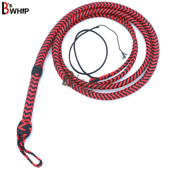 Whip 6, 8, 10, 12, 14 & 16 Feet 16 Strands Bullwhip Para Cord Nylon Bull Whip with Leather Plaited Bellies