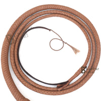 Indiana Jones Style 7 Foot 8 Plait Natural Tan Brown Leather Bullwhip Real Cowhide Leather Bull Whip