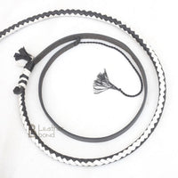 Genuine & Real Cowhide Leather Bullwhip 12 Plait 08 Feet long Bull Whip Black & White