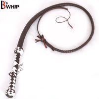 Indiana Jones Style 4 Foot 8 Plait Dark Brown Leather Bullwhip Real Cowhide Leather Bull Whip