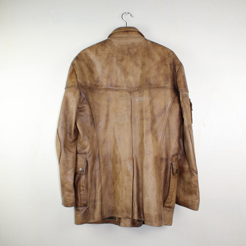 MAN VINTAGE BELSTAFF RARE LEATHER COAT