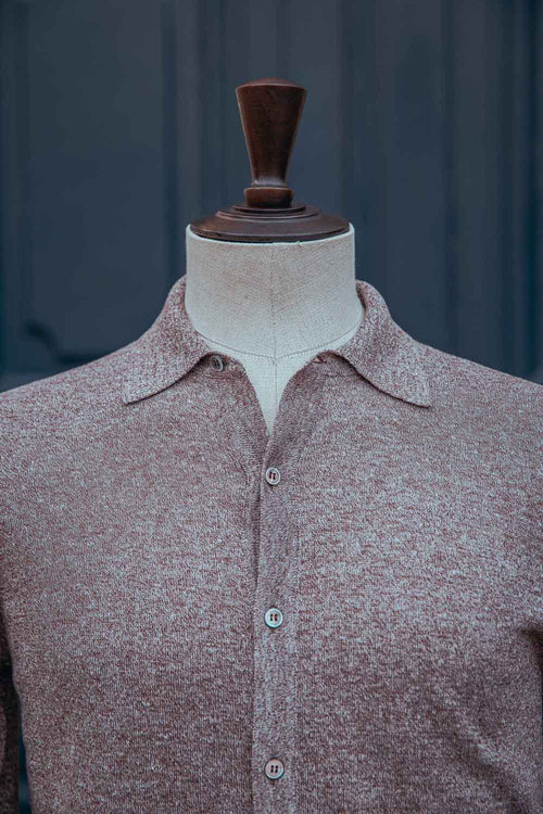 Chemise lin-coton col polo beige – L'officine Paris