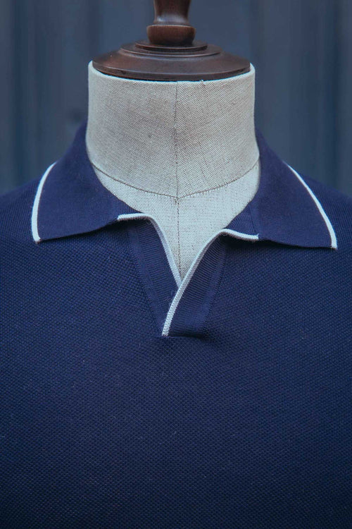 Polo manches courtes coton Bleu Marine - L'officine Paris