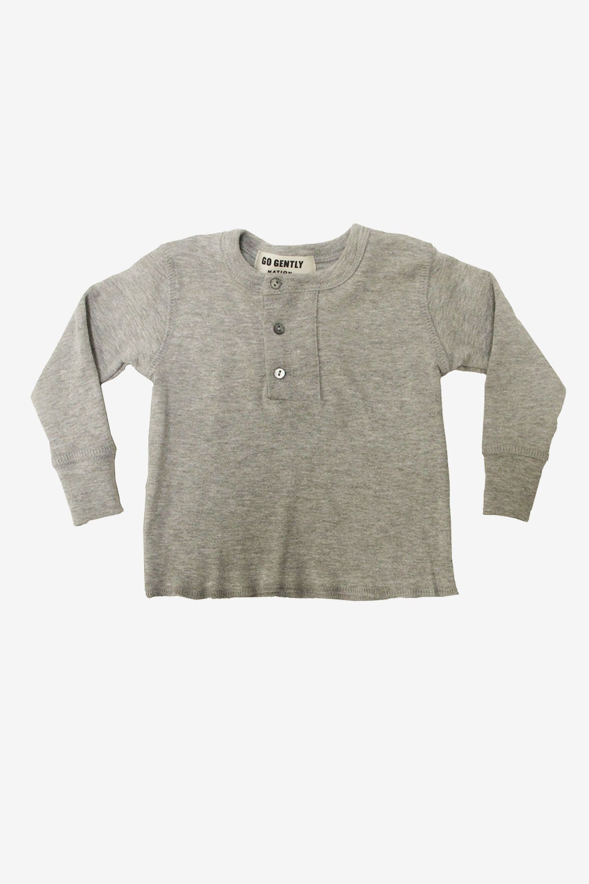 Go Gently Nation Placket Henley - Heather Gray