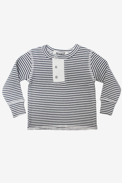 Go Gently Nation Placket Henley - Navy Stripe