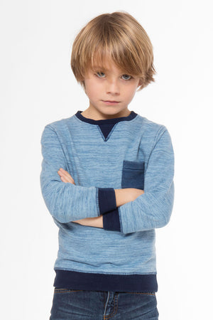3pommes Boys Pocket Sweater - Blue