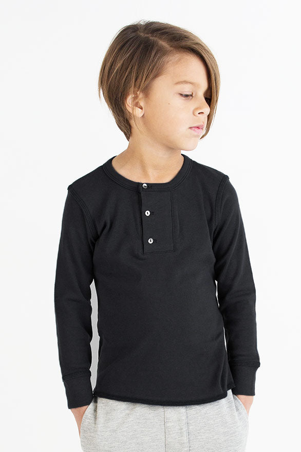 Go Gently Nation Placket Henley - Black