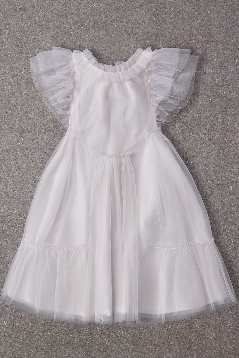 Nellystella Antoinette Girls Dress - Bright White