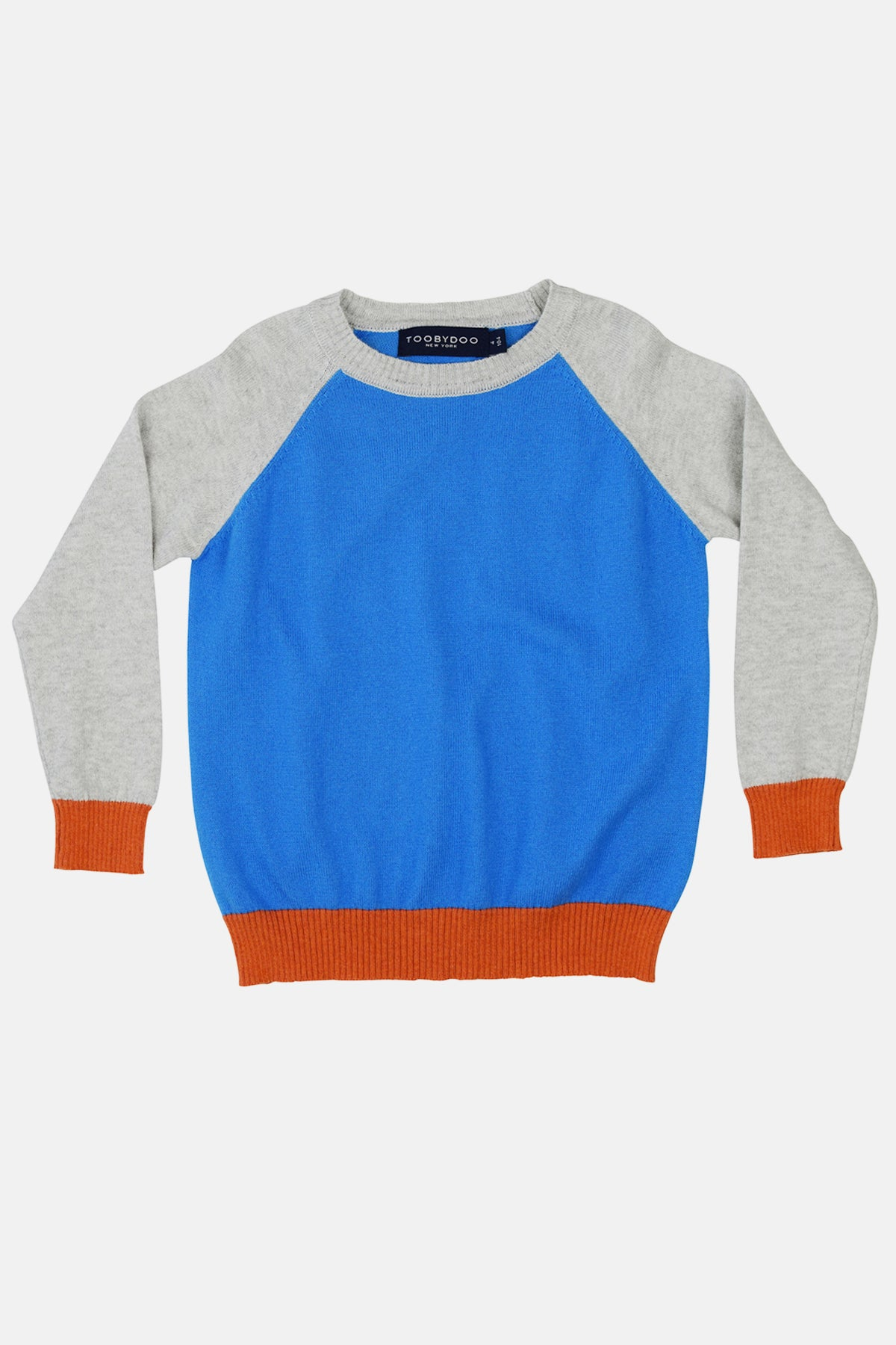 Toobydoo Boys Baseball Sweater - Blue/Grey