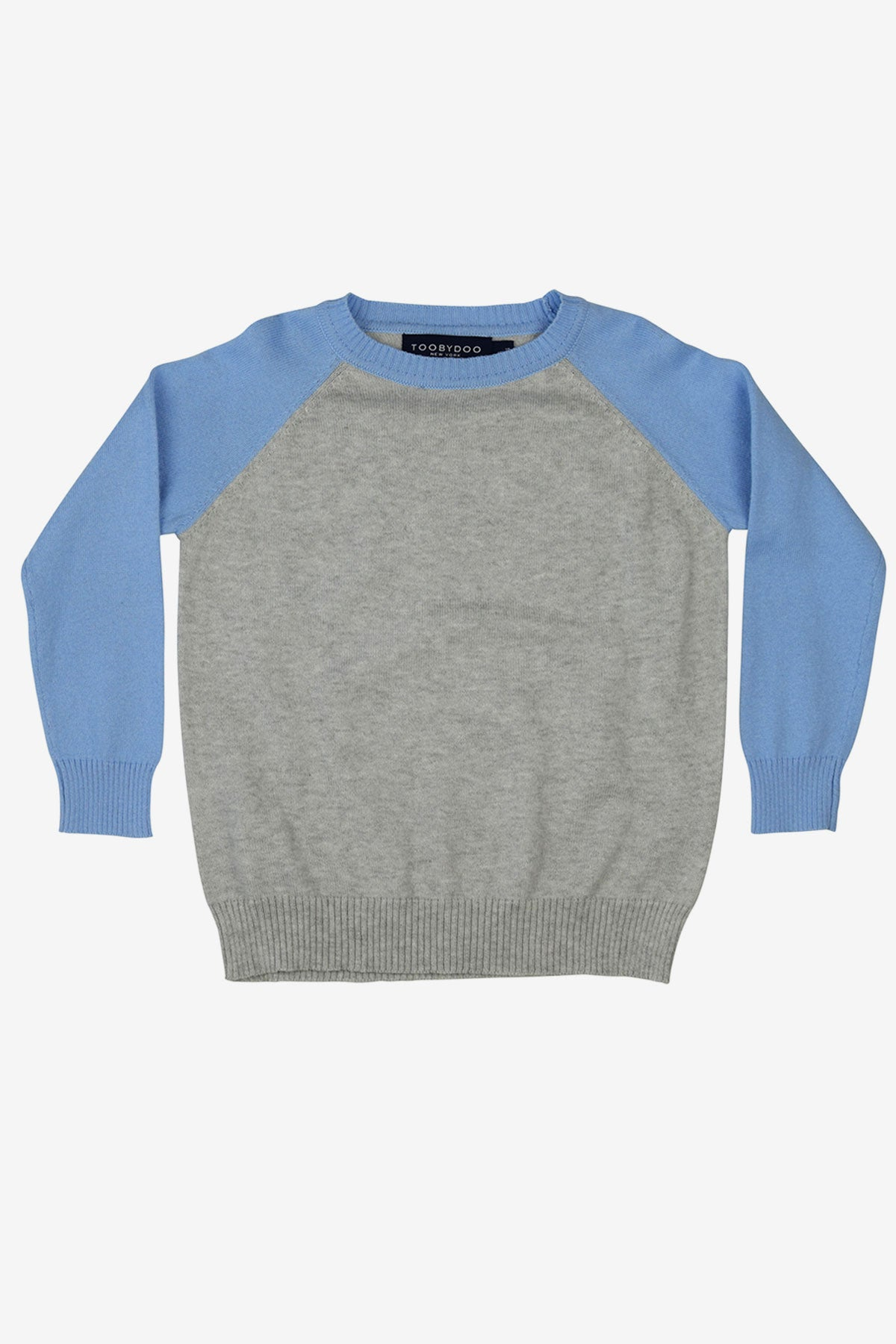 Toobydoo Boys Baseball Sweater - Grey/Light Blue
