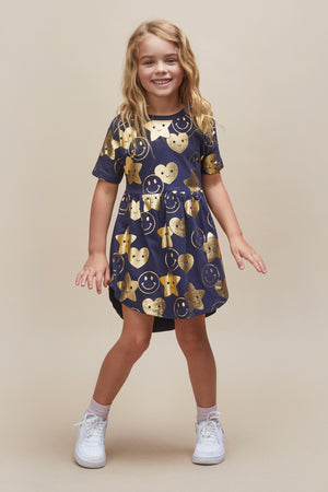 Huxbaby Be Happy Swirl Girls Dress