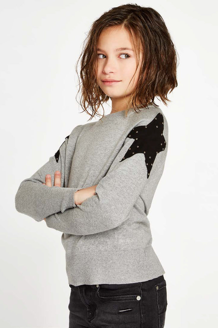 Autumn Cashmere Black Star Girls Sweater
