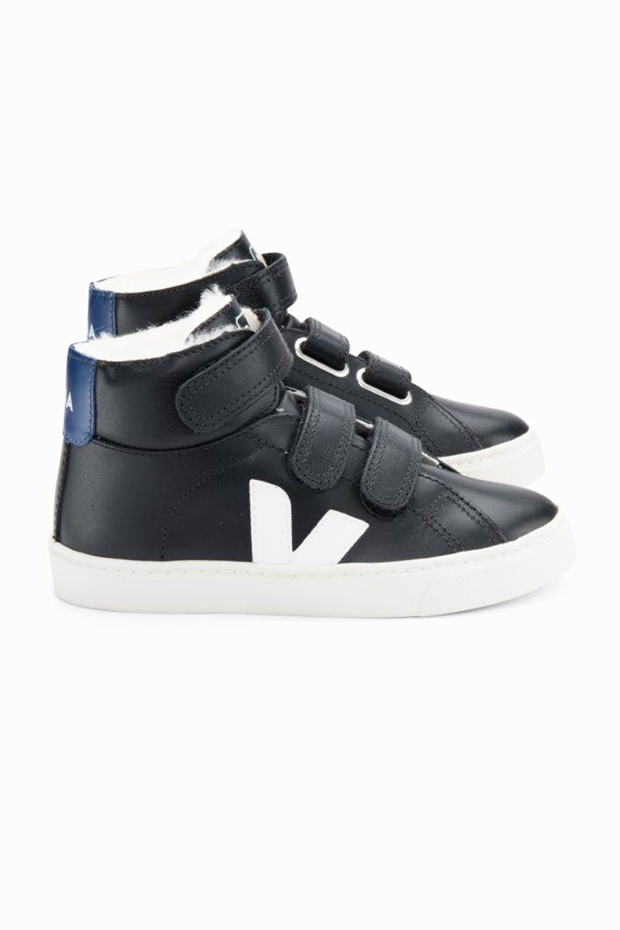 Veja Esplar Shearling High Top Kids Shoes - Black White Cobalt