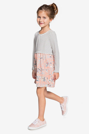 Roxy Meet An Angel Long-Sleeved Dress - Coral Almond Trellis