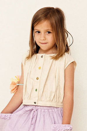 Yellow Pelota Mix Buttons Girls Blouse - Natural