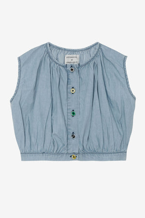 Yellow Pelota Mix Buttons Blouse - Washed Denim