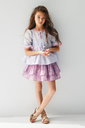 Nellystella Elsa Girls Skirt - Blooming Hearts Blue Yonder