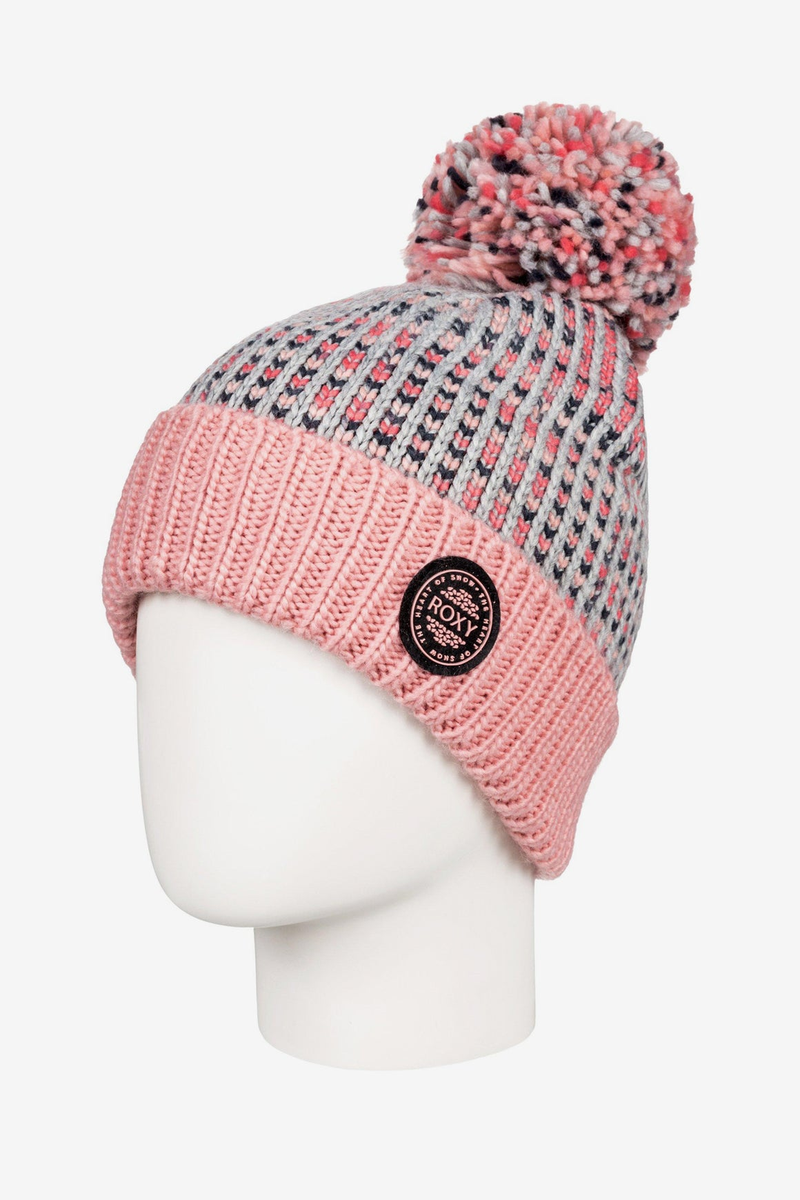 Roxy Snowflurry Pom-Pom Beanie - Warm Heather Grey
