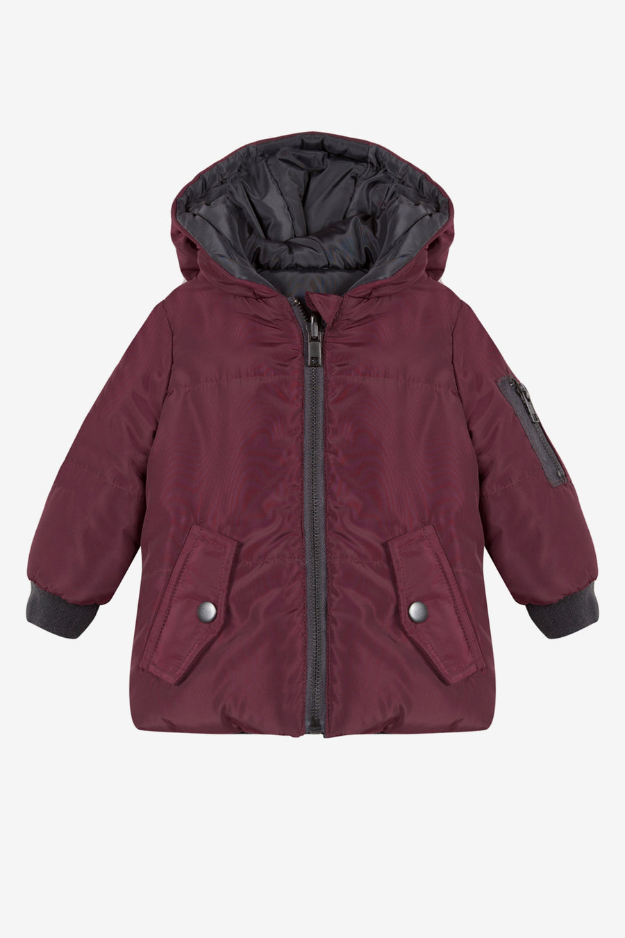 3pommes Baby Boys Burgundy Reversible Coat
