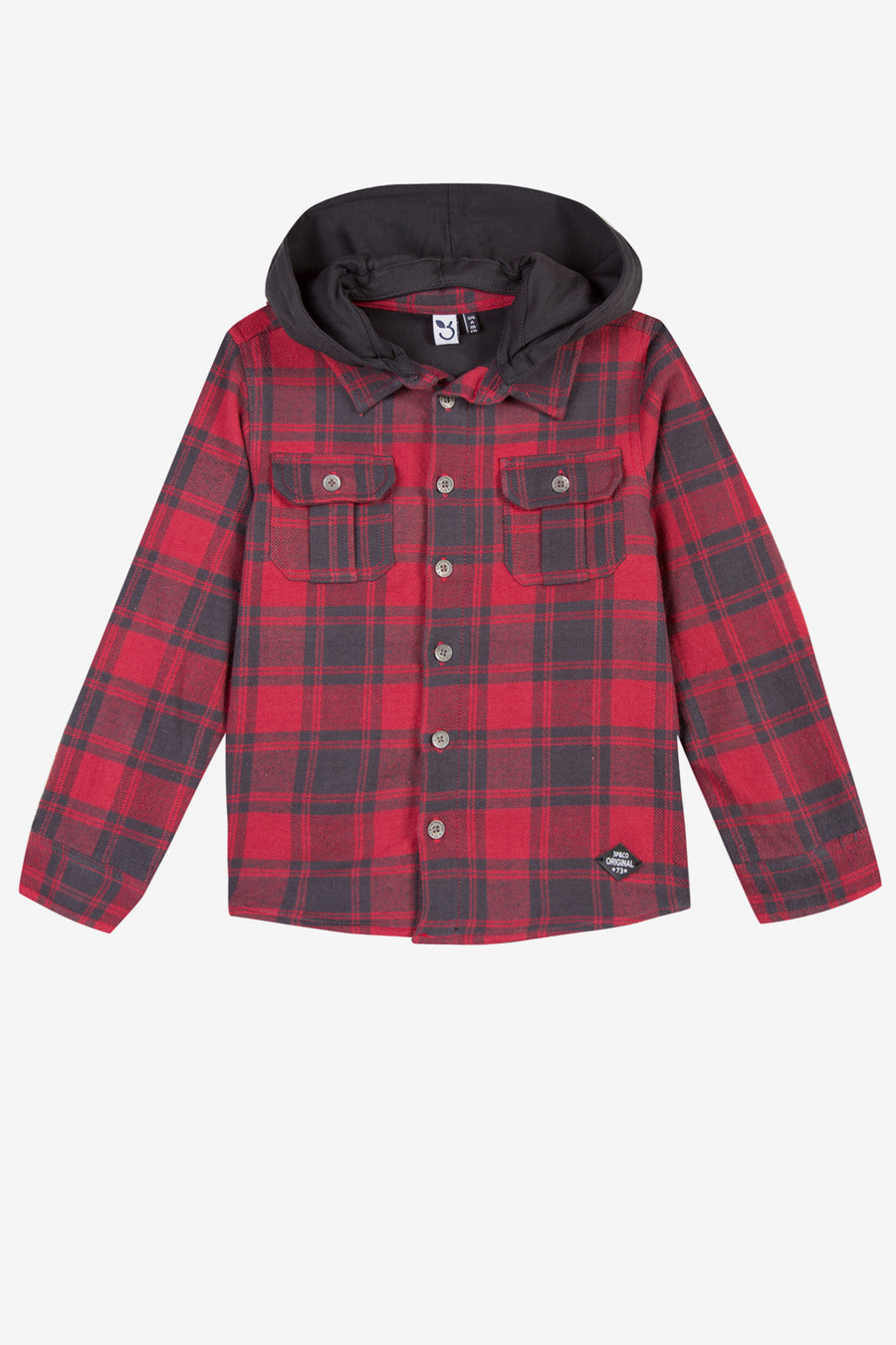 3pommes Boys Red Flannel Hoodie