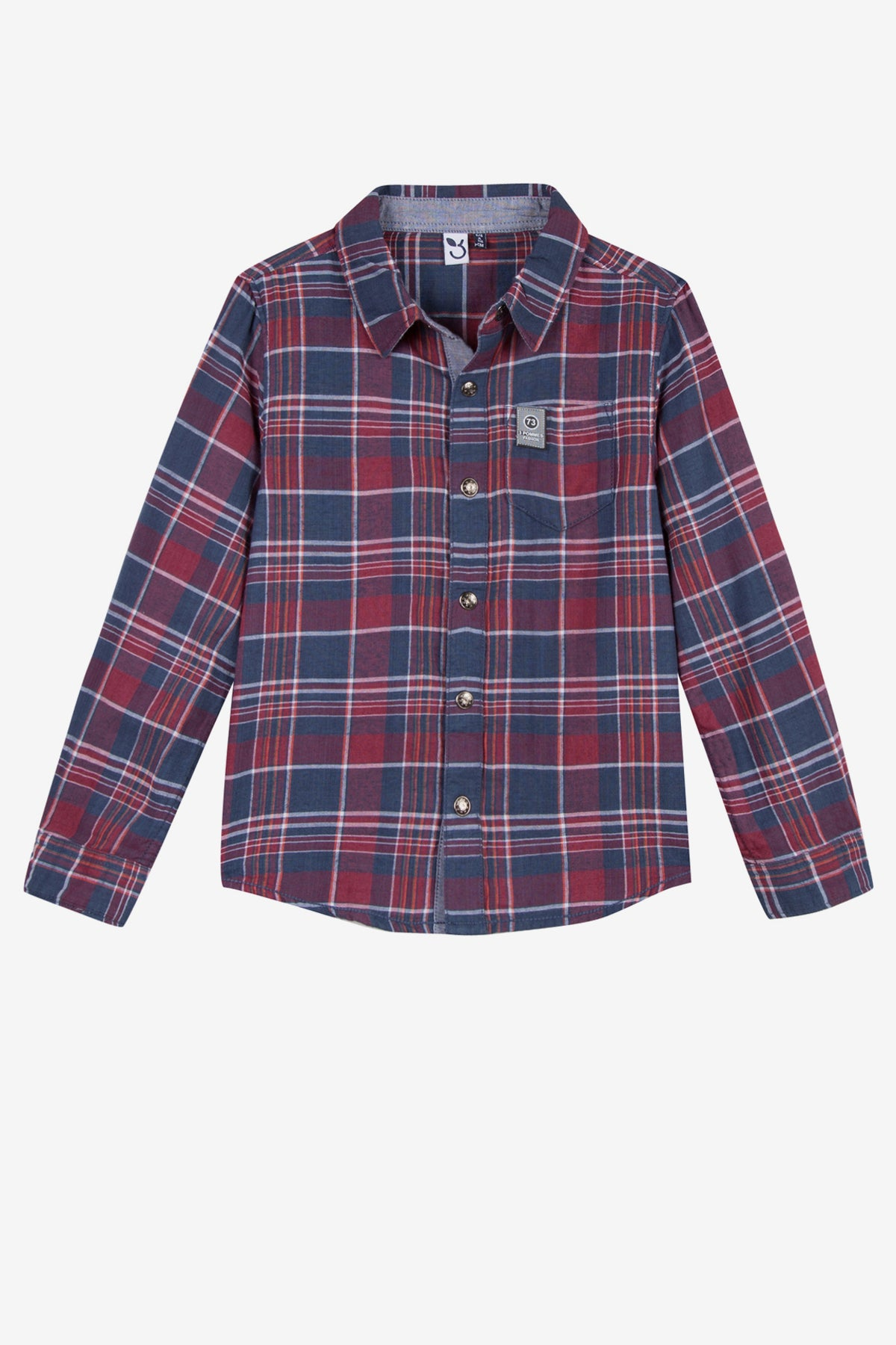 3pommes Boys Red Flannel Shirt