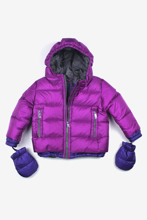 ADD Down Baby Girls Down Jacket with Mitts - Dahlia Pink